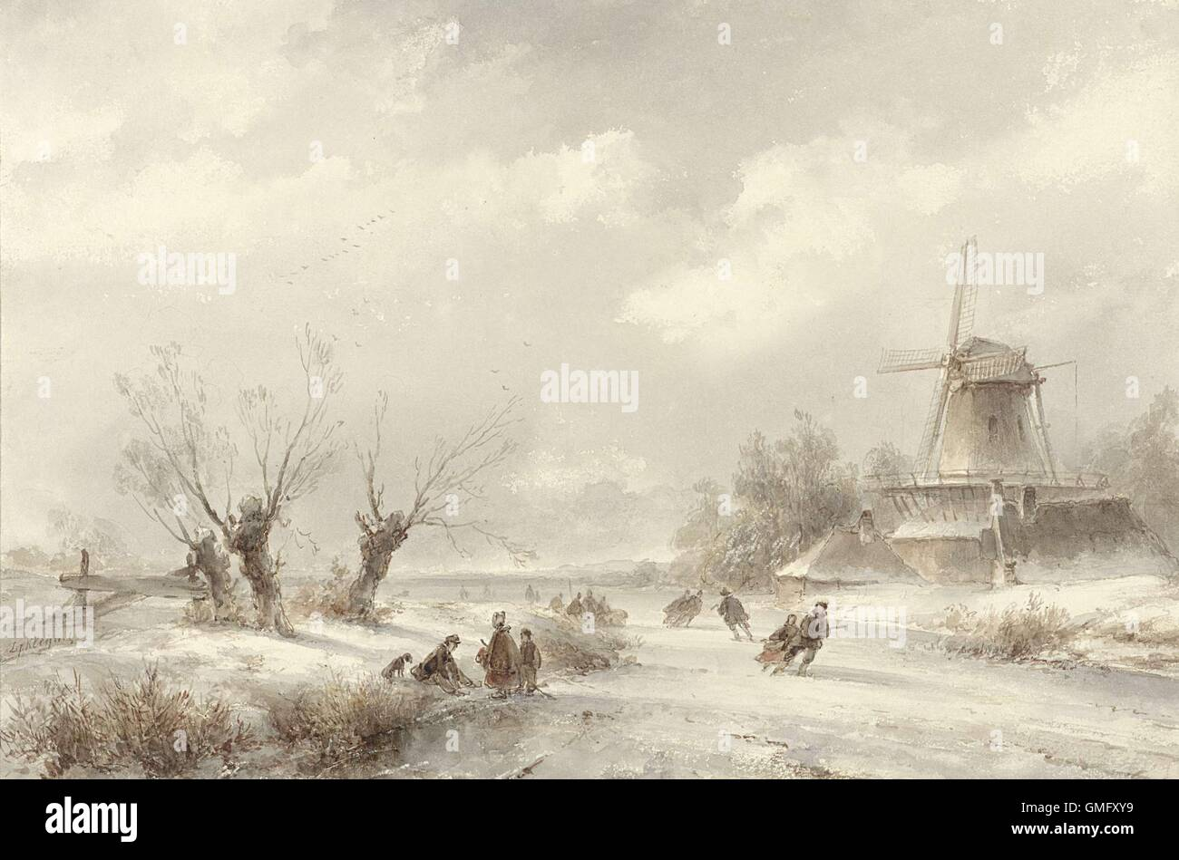 Winter Landscape with Skaters by a Windmill, by Lodewijk Johannes Kleijn, c. 1850-90. Dutch watercolor painting. - Stock Image