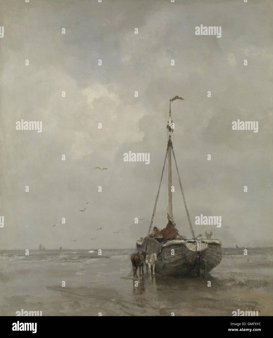 Bluff-bowed Fishing Boat on the Beach at Scheveningen, by Jacob Maris, c. 1885, Dutch oil painting. The broad bows - Stock Image