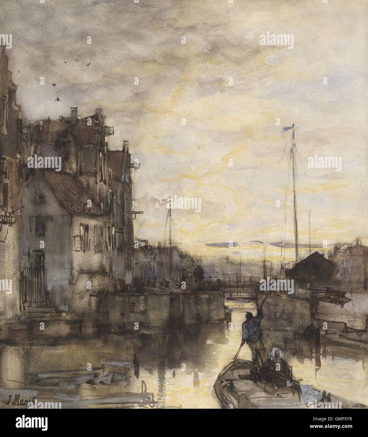 Cityscape at Night, by Jacob Maris, c. 1870-90, Dutch watercolor painting. Man propelling his boat with a pole through - Stock Image