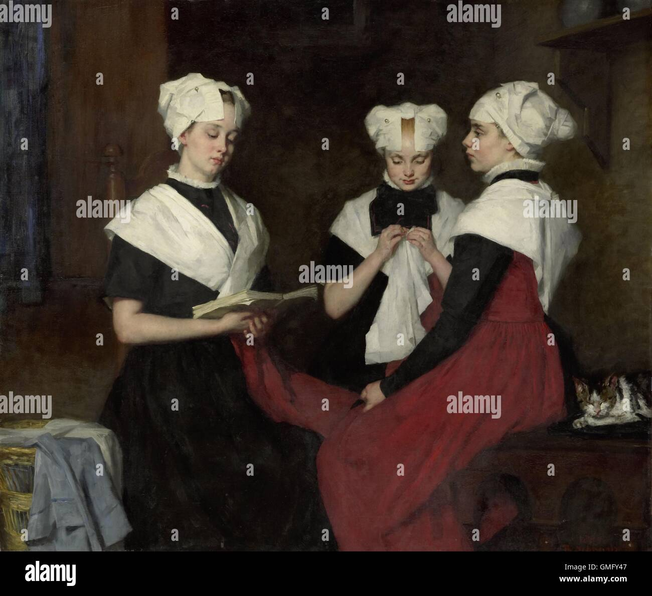 Three Girls from the Amsterdam Orphanage, by Therese Schwartze, 1885, Dutch painting, oil on canvas. One reads from - Stock Image