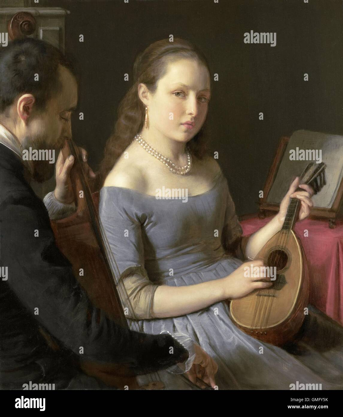 classical painting young woman playing a lute It's a painting by dirck van baburen, probably owned by vermeer's mother-in-law and now in the collection of boston's museum of fine arts — you can see it hanging there right now.