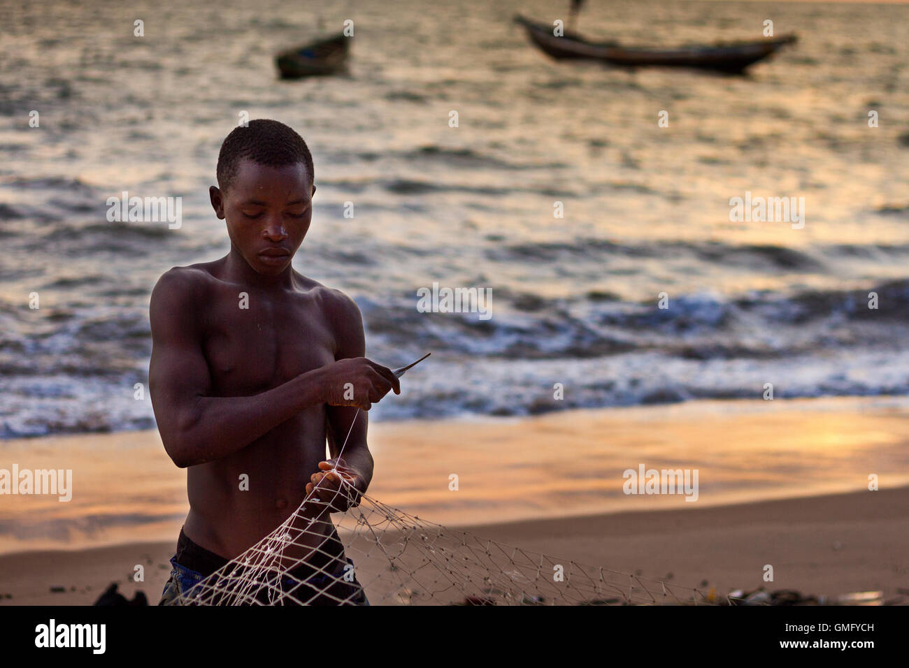 Yongoro, Sierra Leone - June 05, 2013: West Africa, the beaches of Yongoro in front of Freetown - Stock Image