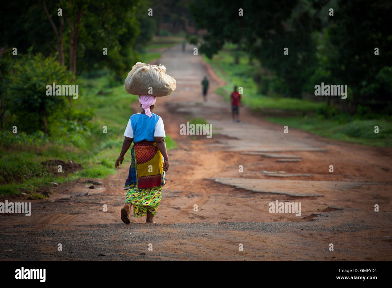 Yongoro, Sierra Leone - June 10, 2013: West Africa, the main road of Yongoro, village in front of Freetown - Stock Image