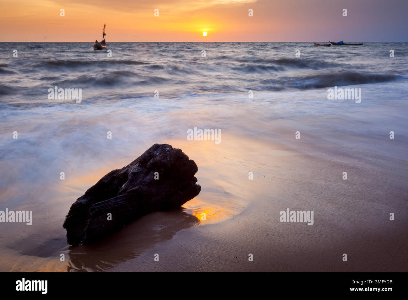Yongoro, Sierra Leone - June 05, 2013: West Africa, the beaches of Yongoro in front of Freetown Stock Photo