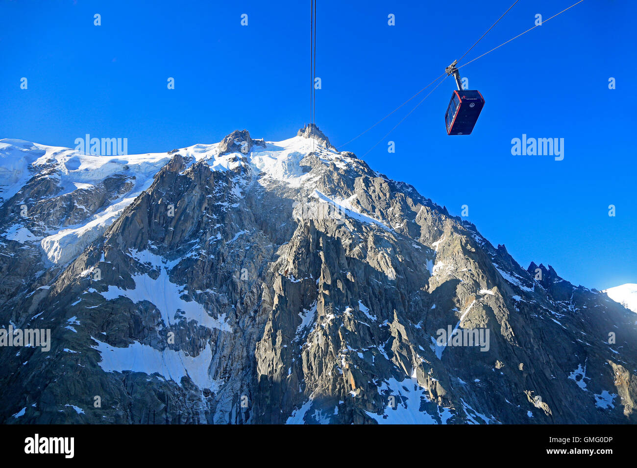 Aiguille du Midi and funicular in French Alps - Stock Image