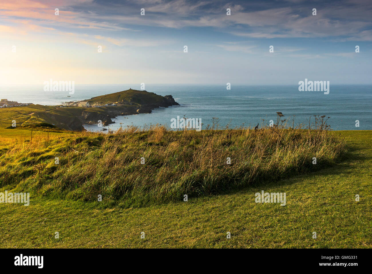 Sunset over Towan Headland in Newquay, Cornwall. - Stock Image