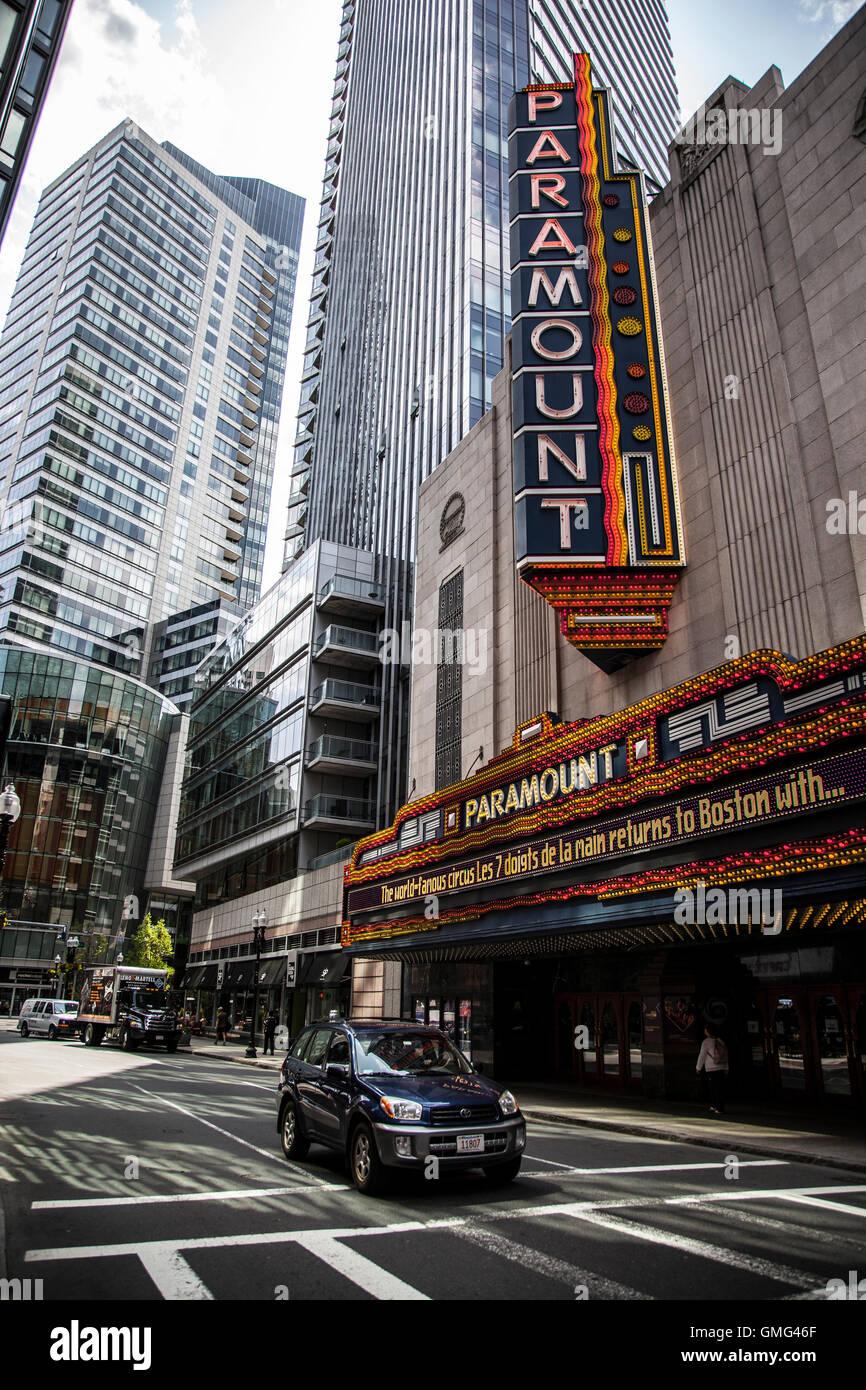 Washington Street Theater District in Boston - Stock Image