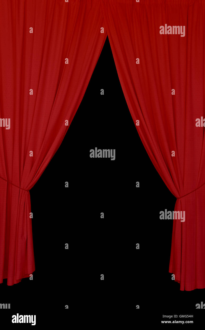 Open Red Drapes Tied With Rope Elegant Stage Curtains On Black Background Abstract Design Element