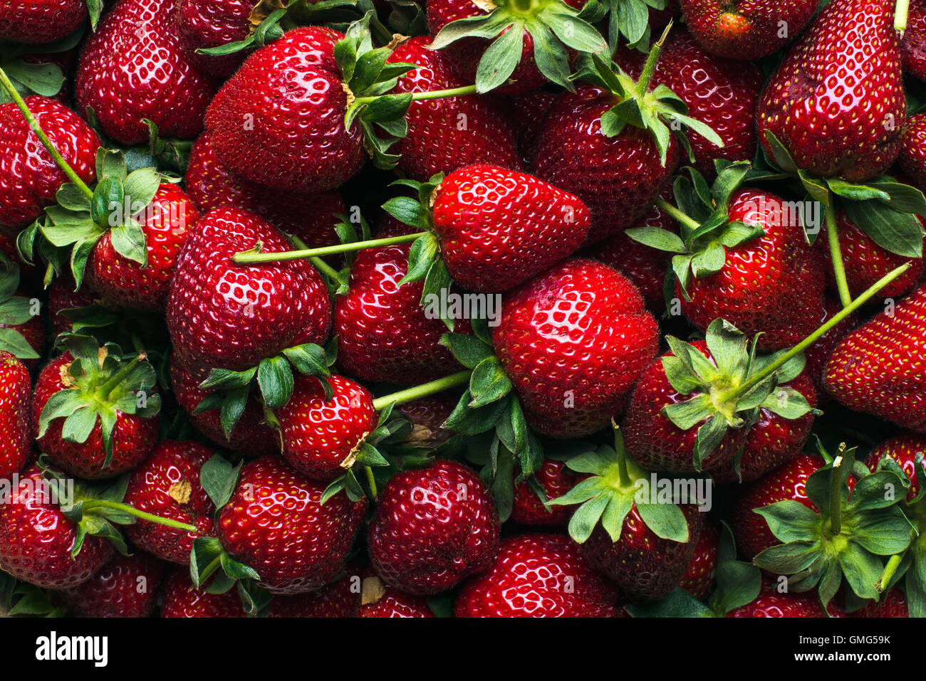 Freshly harvested ripe strawberries, top view - Stock Image