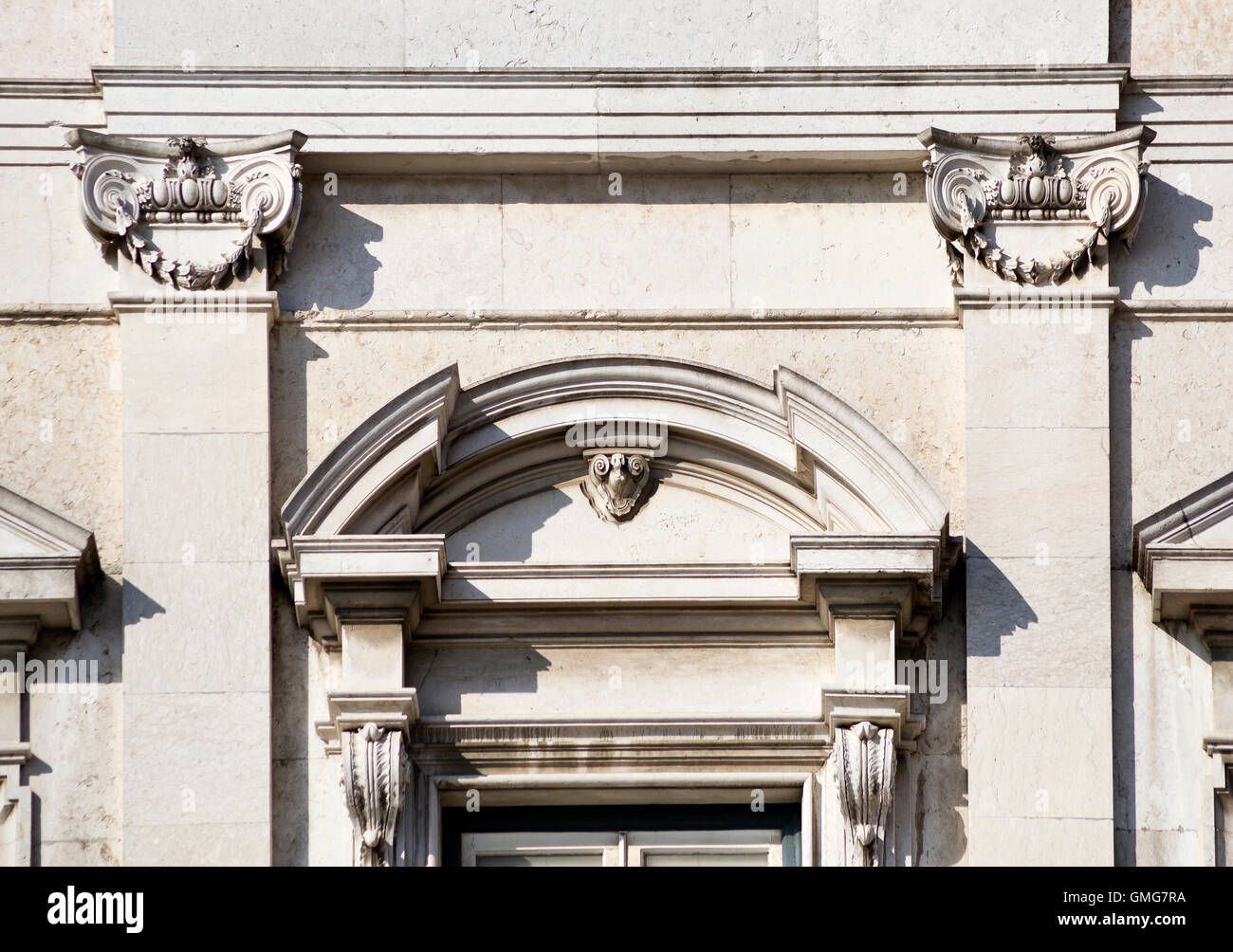 Detail of the neoclassic architecture used on Ribeiro Palace in Lisbon, Portugal - Stock Image