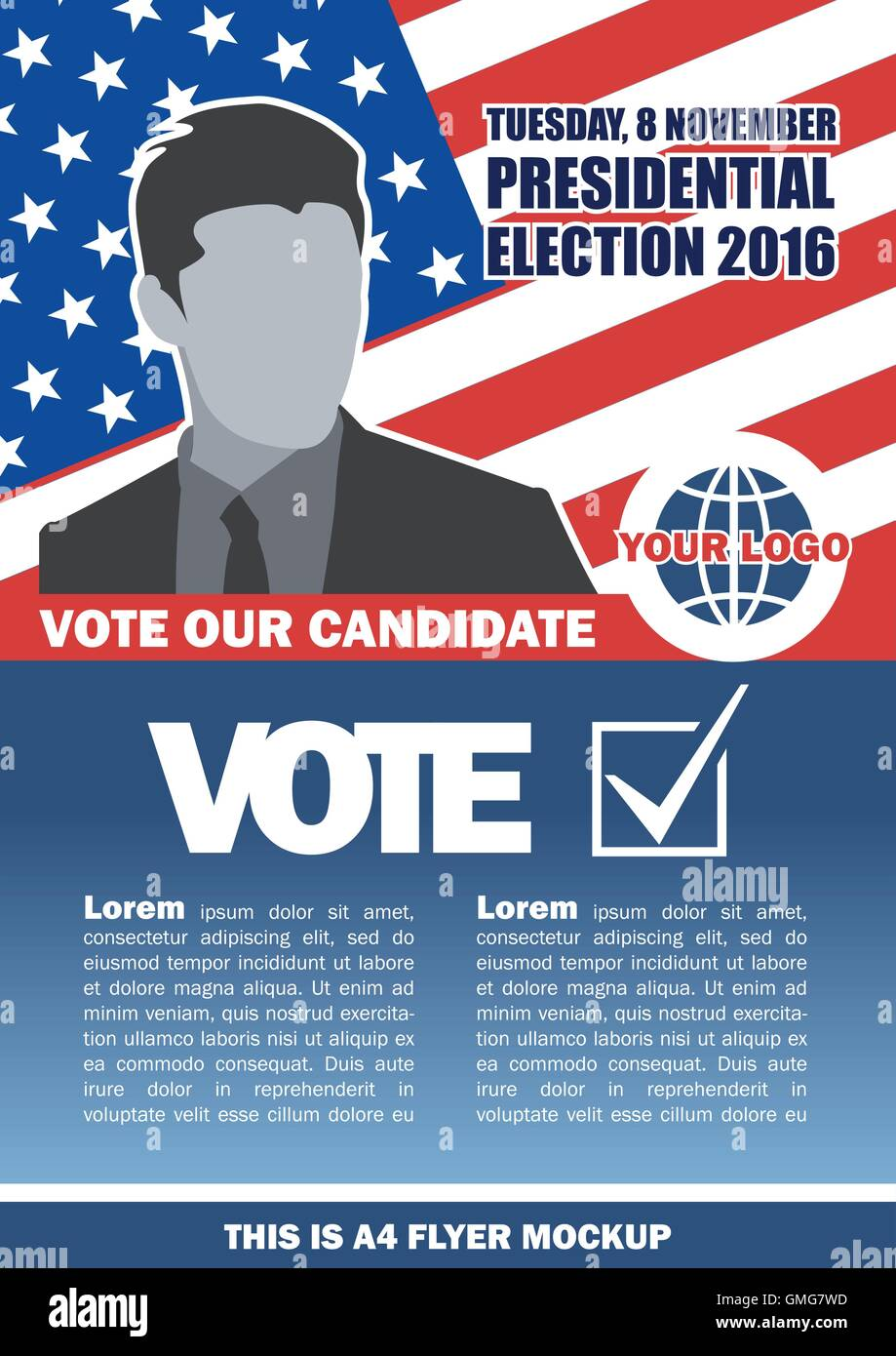 Usa 2016 election a4 flyer mockup with country map, vote checkbox and male candidate. Digital vector image - Stock Image