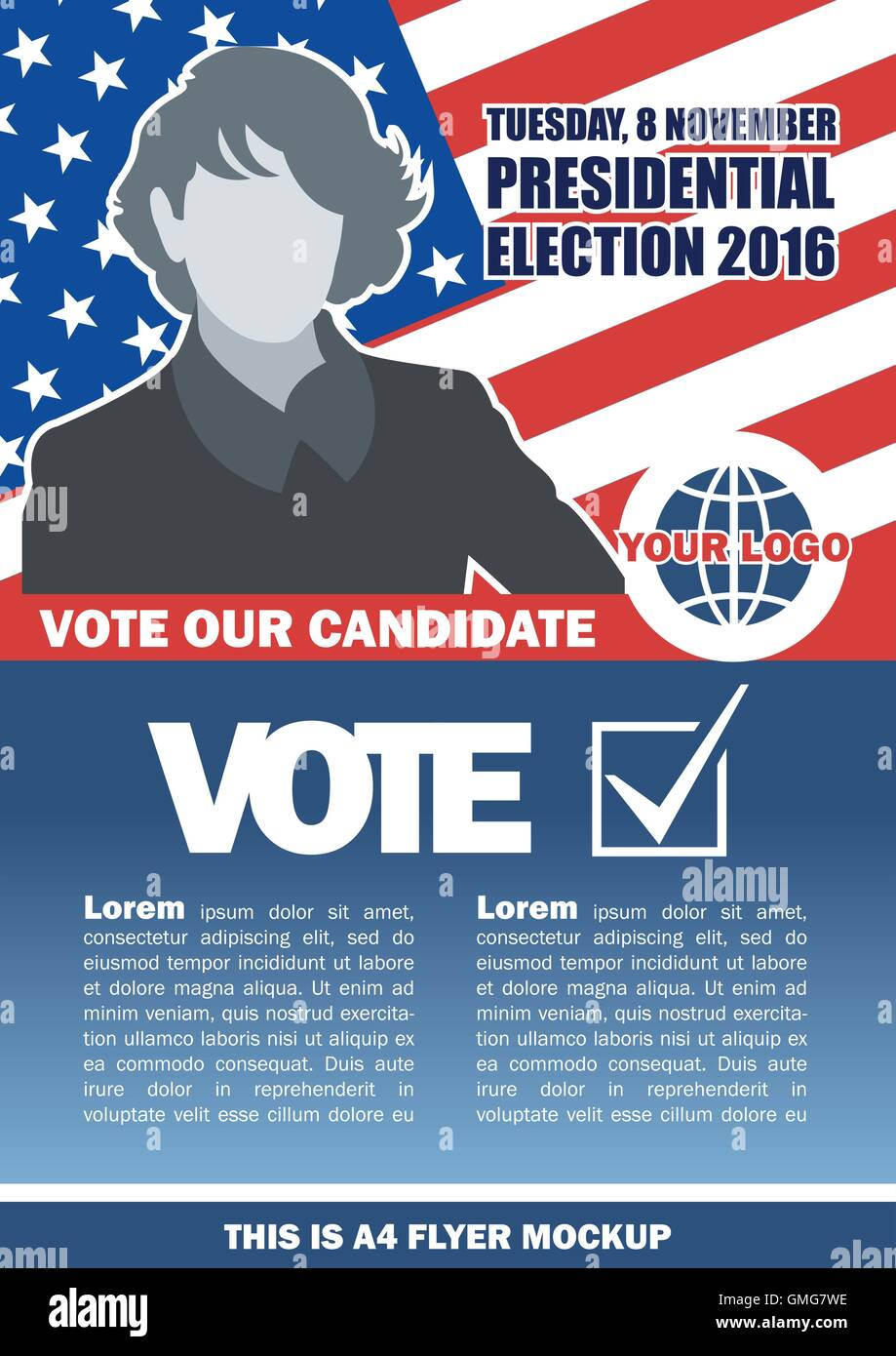 Usa 2016 election a4 flyer mockup with country map, vote checkbox and female candidate. Digital vector image - Stock Image