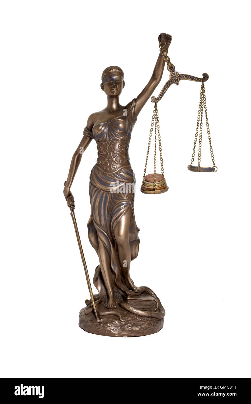 Lady Justice holding imbalanced scale isolated on white background (concept of injustice) - Stock Image