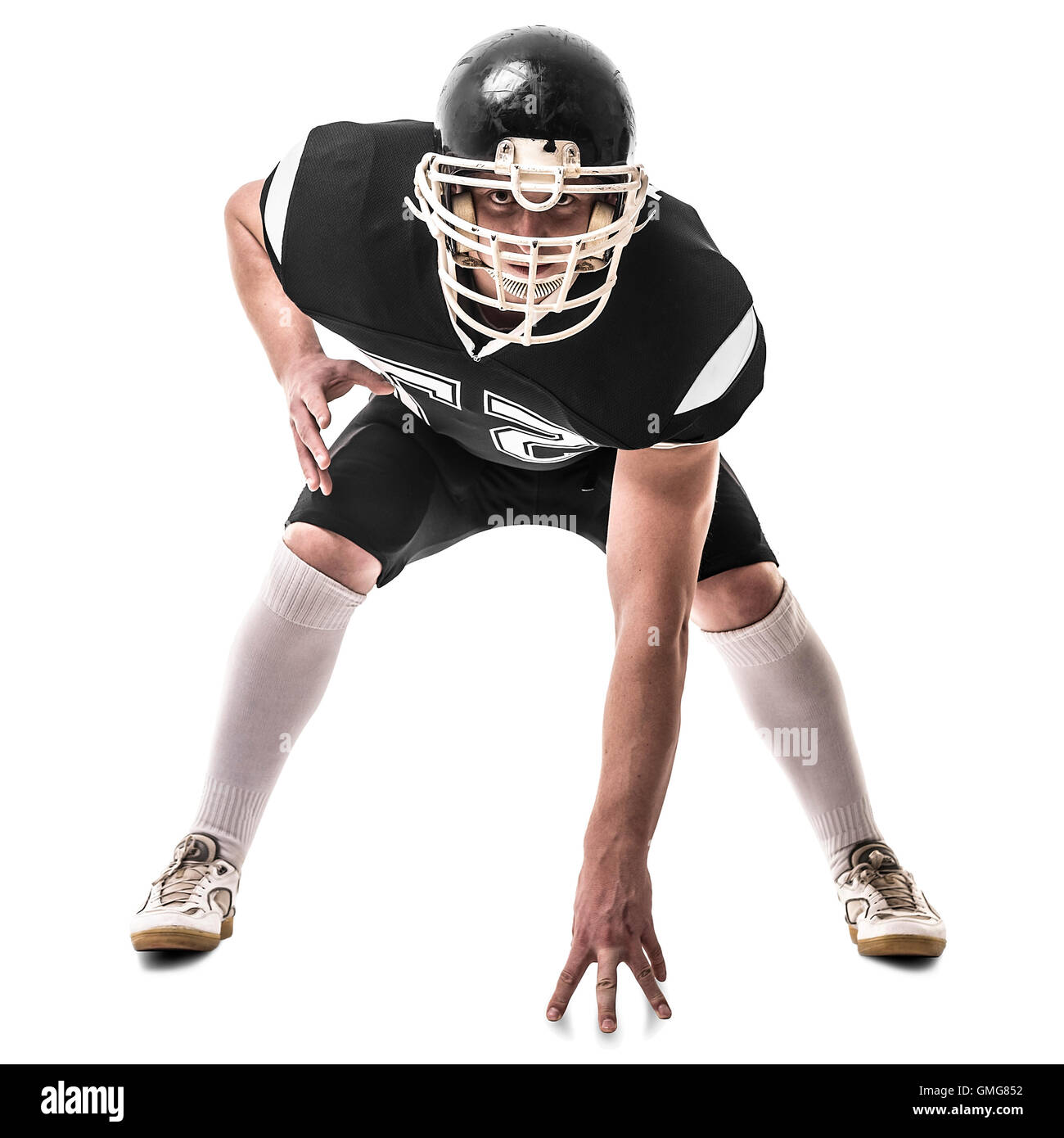 American football player  isolated on white background - Stock Image