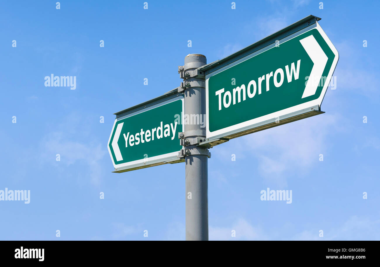 Yesterday Tomorrow sign. - Stock Image
