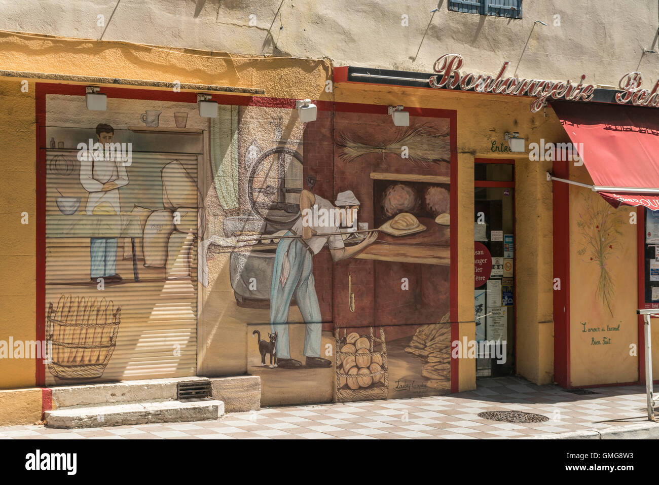 Boulangerie, Wall panting, Barjols, Var,  Provence, France - Stock Image