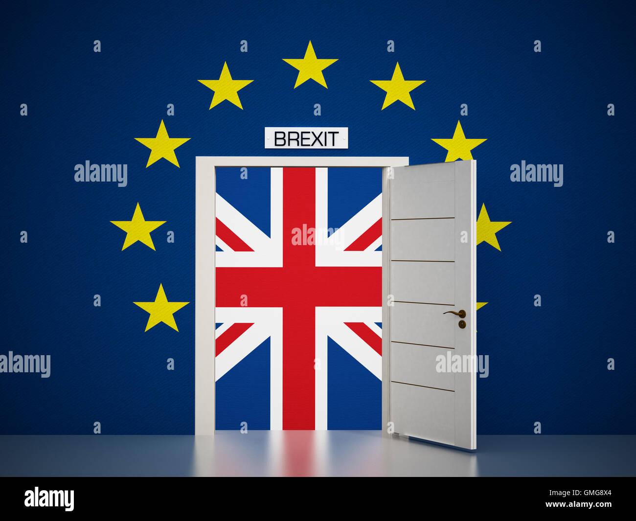 European Union map around open door leading to British flag. 3D illustration. Stock Photo