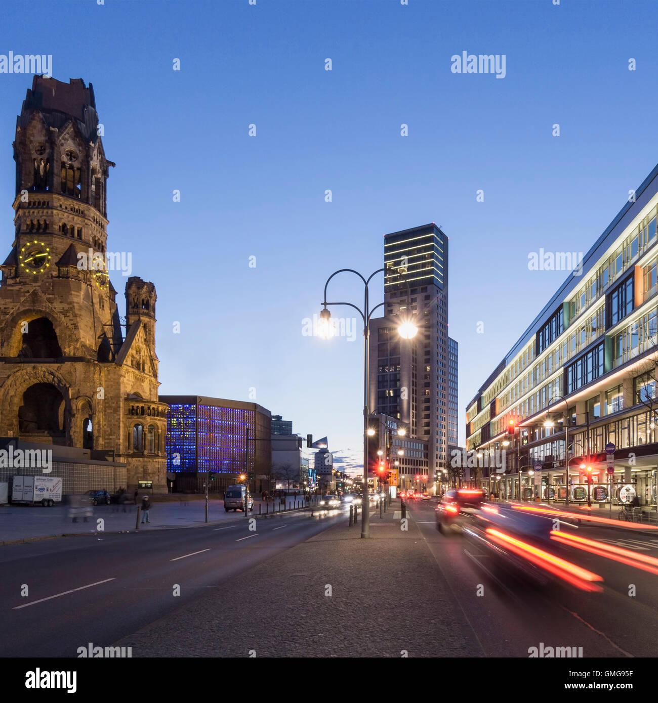 Bikini Shopping Center, Kaiser Wilhelm Memorial Church, Waldorf Astoria Hotel, Berlin, Stock Photo