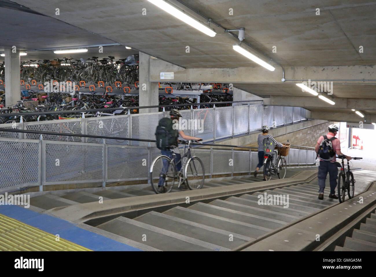Interior Of A New Multi Storey Bike Park In Cambridge Uk