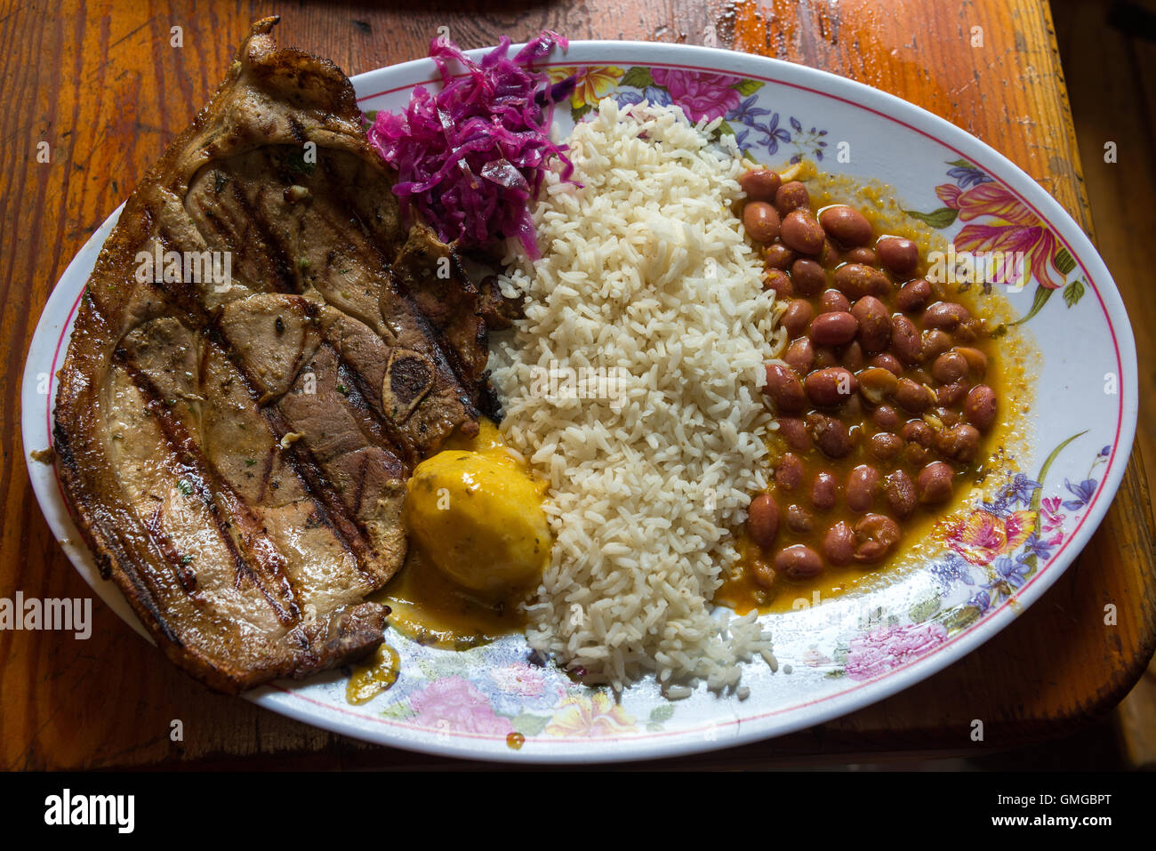 A Typical South American Meal Rice Beans And Grilled Meat Quito Stock Photo Alamy