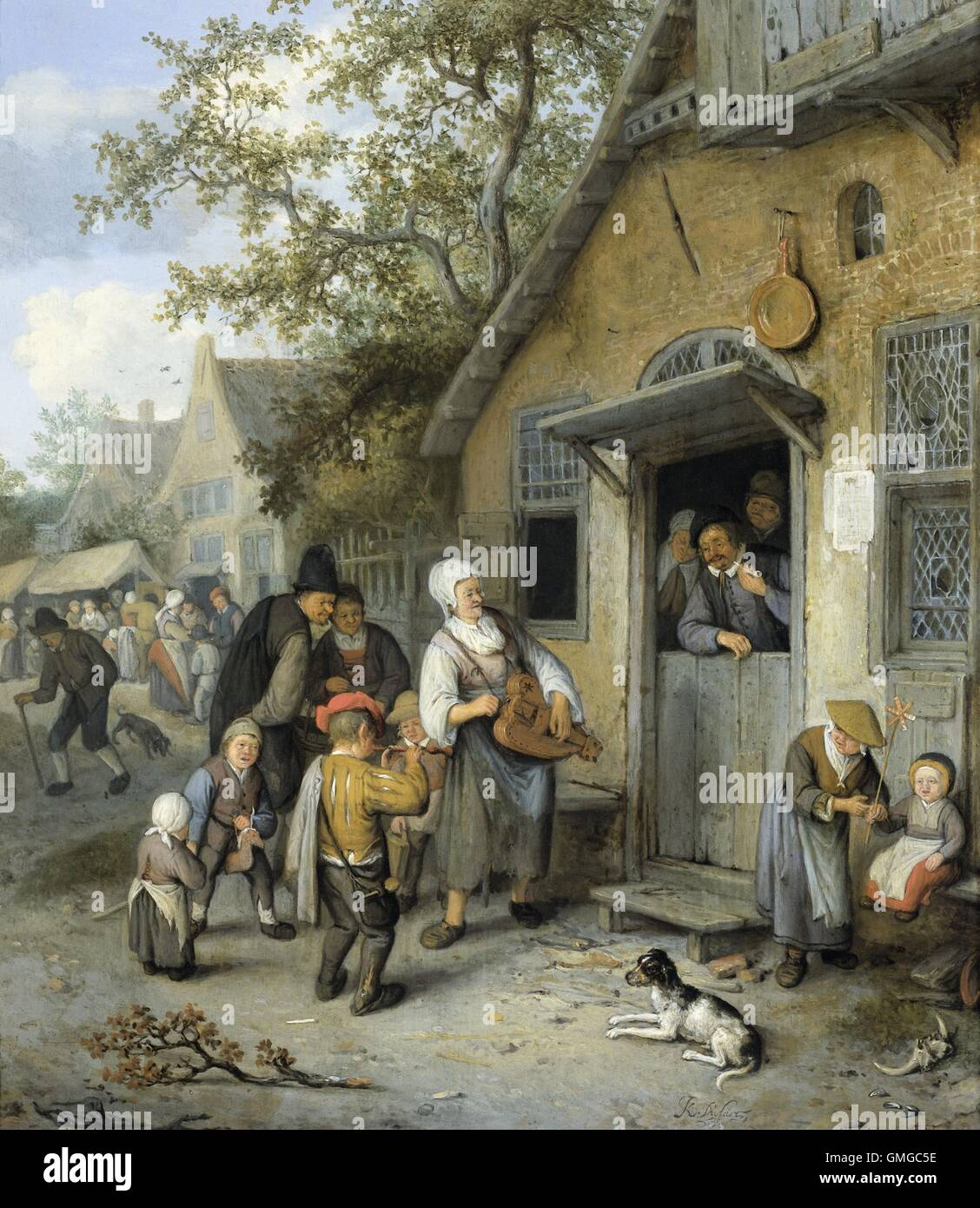 Country Kermis, Cornelis Dusart, 1680-1704, Dutch painting, oil on panel. On the edge of a country fair, people - Stock Image