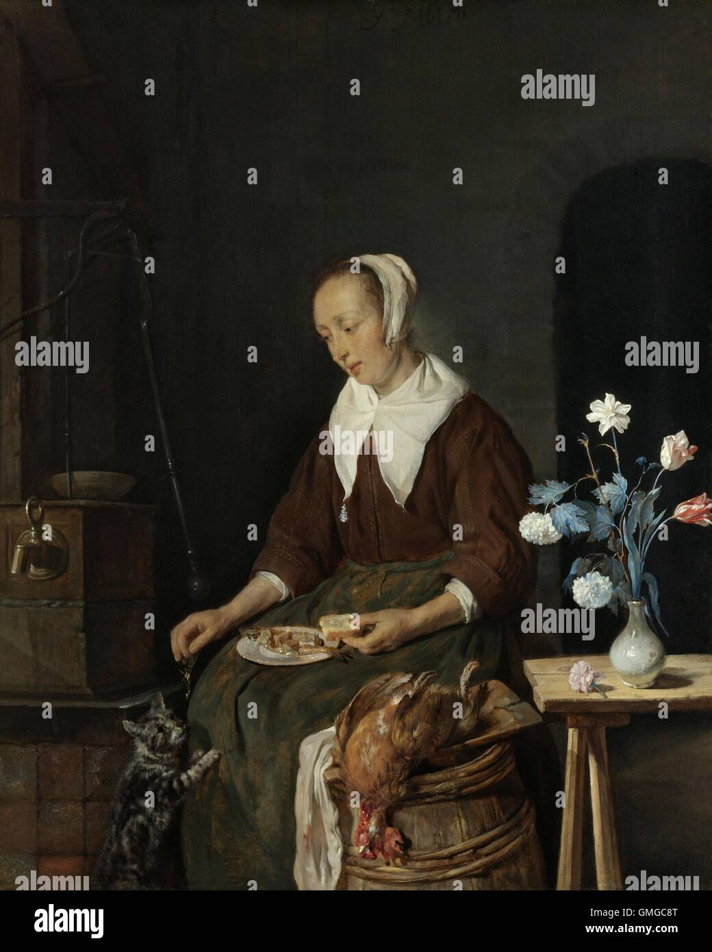 Woman Eating, by Gabriel Metsu, 1661-64, Dutch painting, oil on panel. Also known as 'The Cat's Breakfast'. A seated Stock Photo