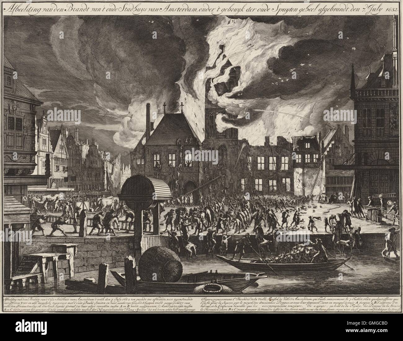 The Fire in the Old Town Hall in Amsterdam, 1652, by Jan van der Heyden,  1688-90, Dutch print. Engraving and etching on paper.