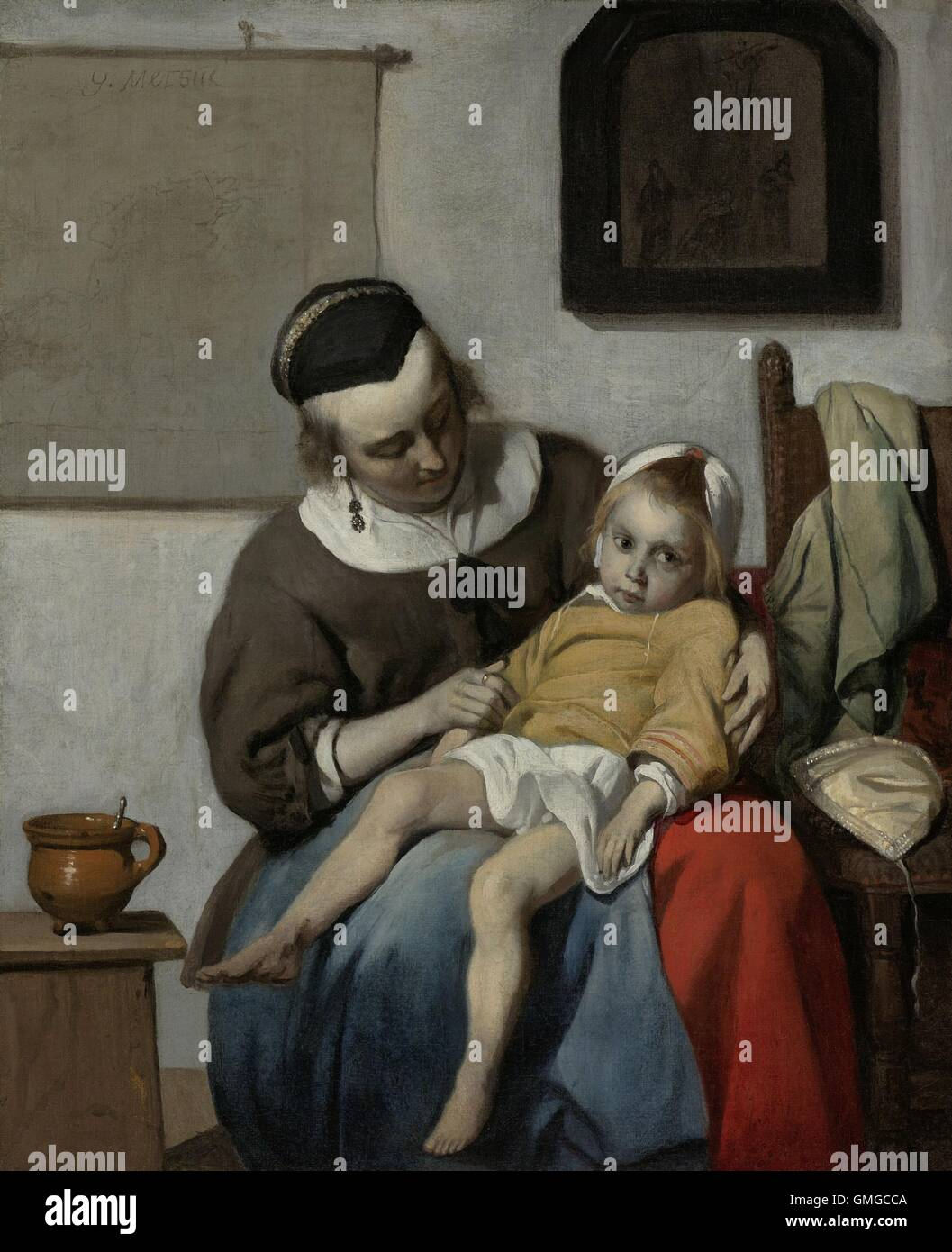 The Sick Child, by Gabriel Metsu, 1664-66, Dutch painting, oil on canvas. A mother sits with a child in her lap. Stock Photo