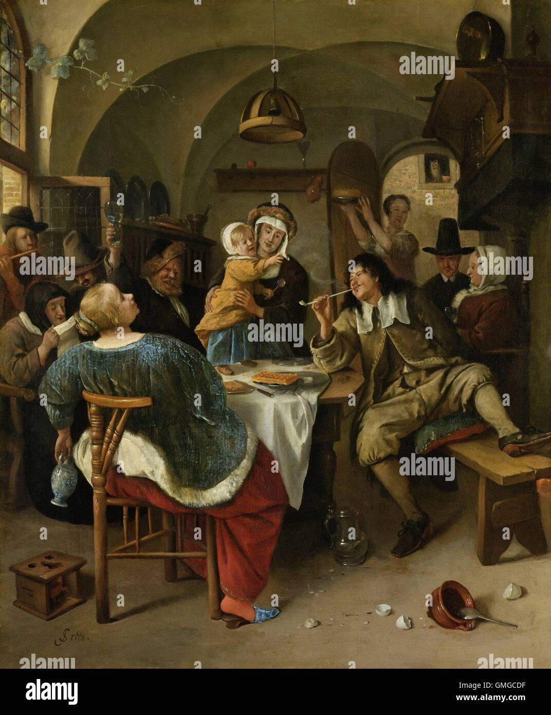 Family Scene, Jan Steen, 1660-79, oil on panel, Dutch painting, oil on  panel. Family singing and dancing around a table with raised glass, food,  ...