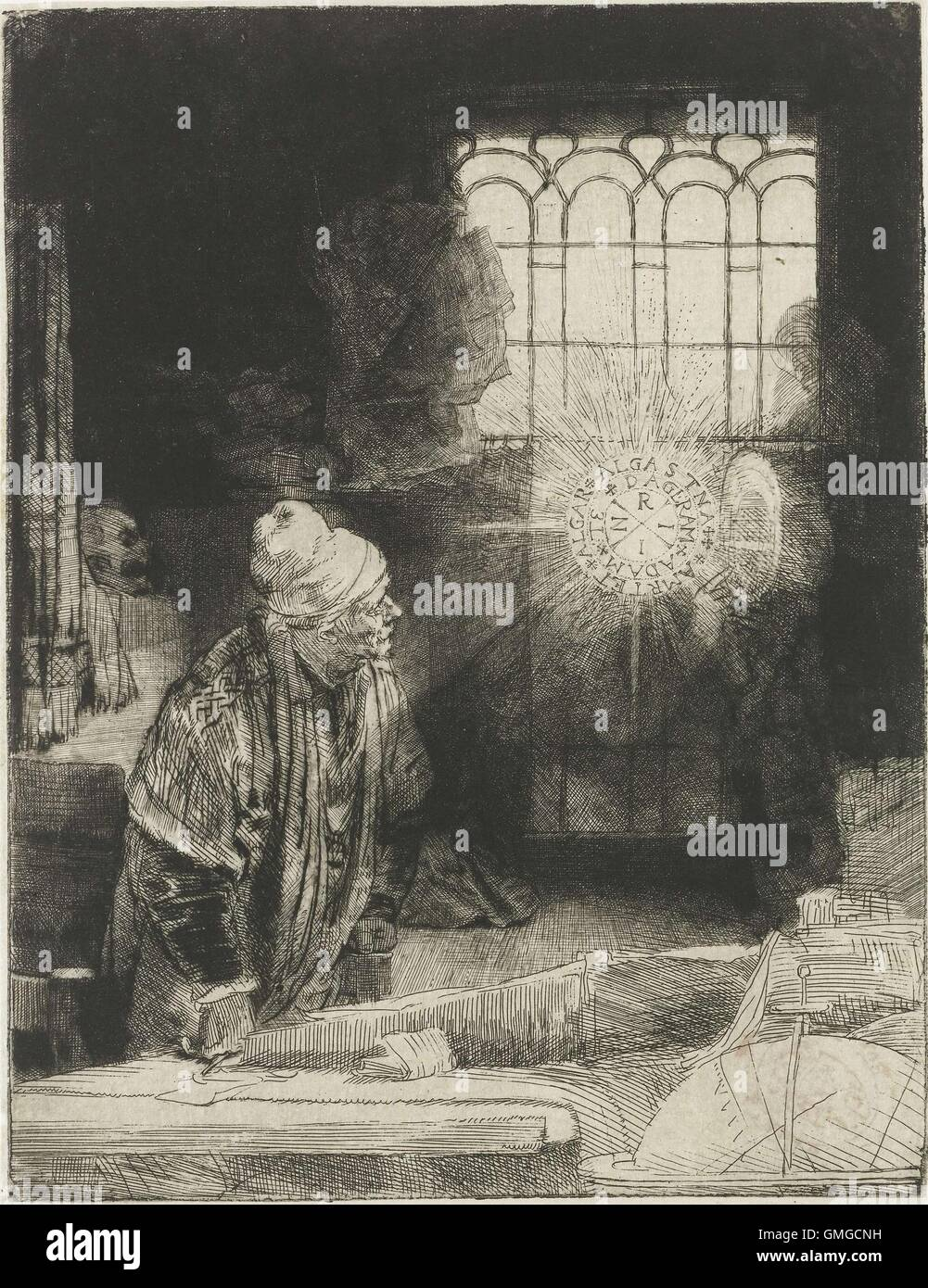 A Scholar in his Study, by Rembrandt van Rijn, 1650-54, Dutch print, etching on an apparition of a disc of light - Stock Image
