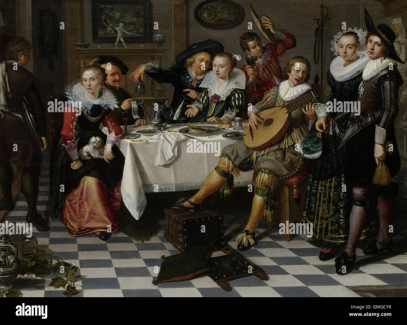 Merry Company, by Isack Elyas, 1629, Dutch painting, oil on panel. Interior with partying, drinking and music making - Stock Image