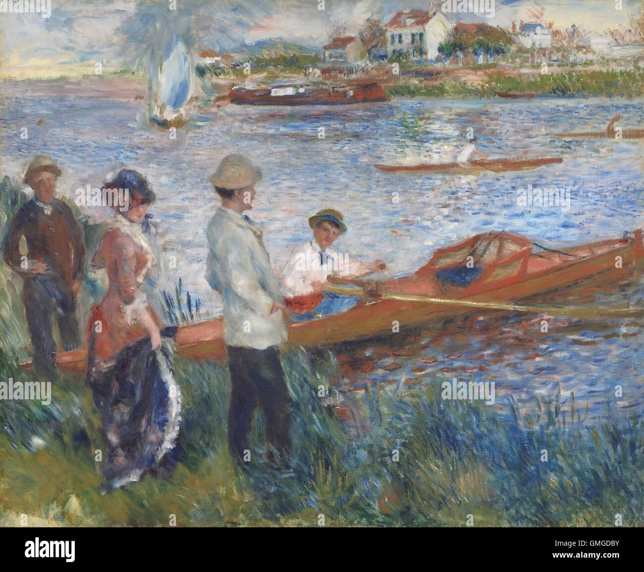 Oarsmen at Chatou, by Auguste Renoir, 1879, French impressionist painting, oil on canvas. The man in this boat may - Stock Image