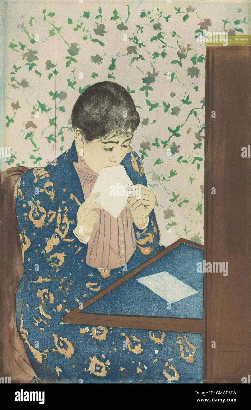 The Letter, by Mary Cassatt, 1990-91, American print, drypoint and aquatint. Following a landmark exhibition of - Stock Image