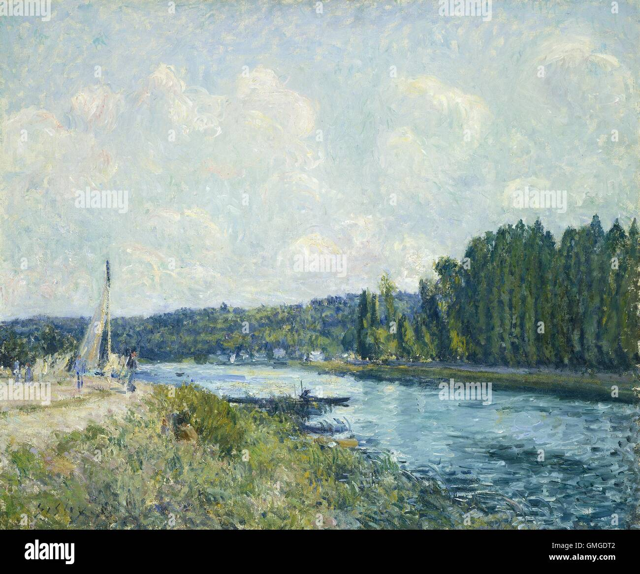 The Banks of the Oise, by Alfred Sisley, 1877-78, French impressionist painting, oil on canvas. River landscape - Stock Image