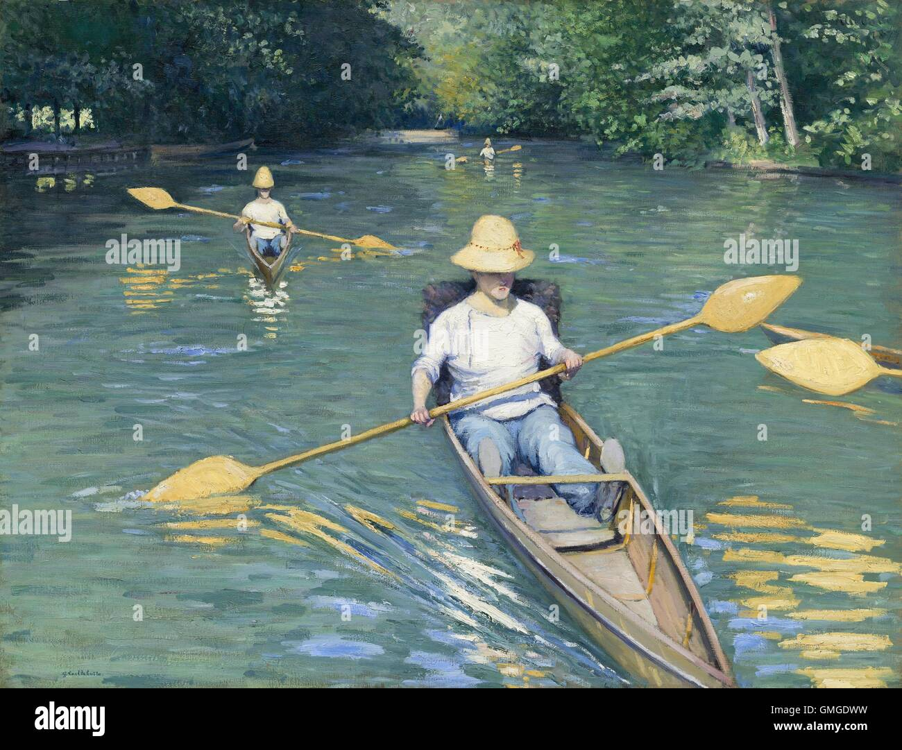 Skiffs, by Gustave Caillebotte, 1877, French impressionist painting, oil on canvas. This painting was exhibited - Stock Image