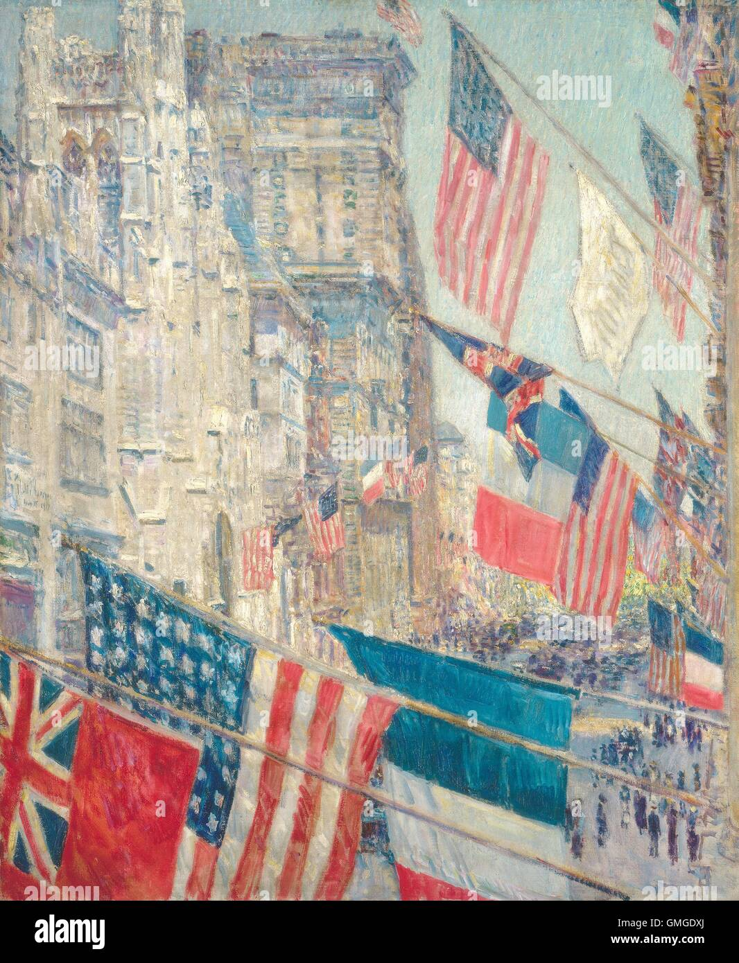 Allies Day, May 1917, by Childe Hassam, 1917, American impressionist painting, oil on canvas. On May 7 & 9, - Stock Image