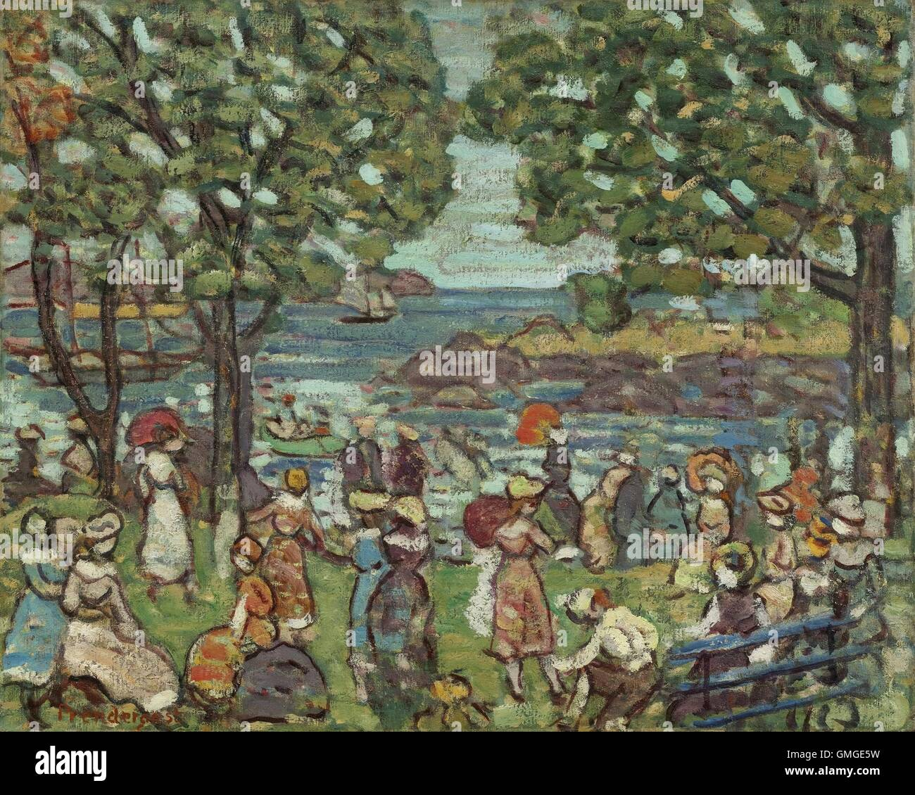 Salem Cove, by Maurice Brazil Prendergast, 1916, American painting, oil on canvas. In 1907 he returned to Paris Stock Photo