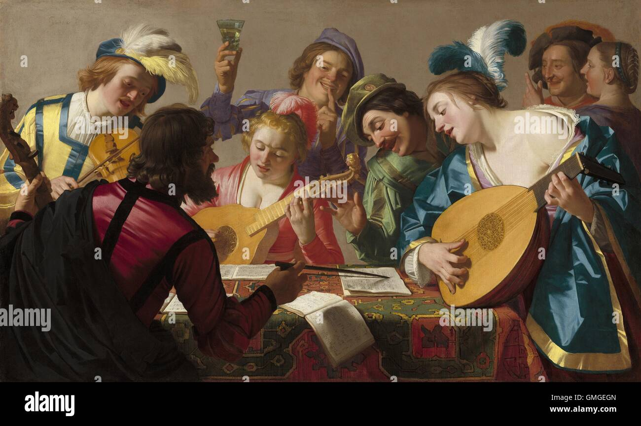 The Concert, by Gerrit van Honthorst, 1623, Dutch painting, oil on canvas.  The influence of Caravaggio is strong in this genre scene of musicians and  ...