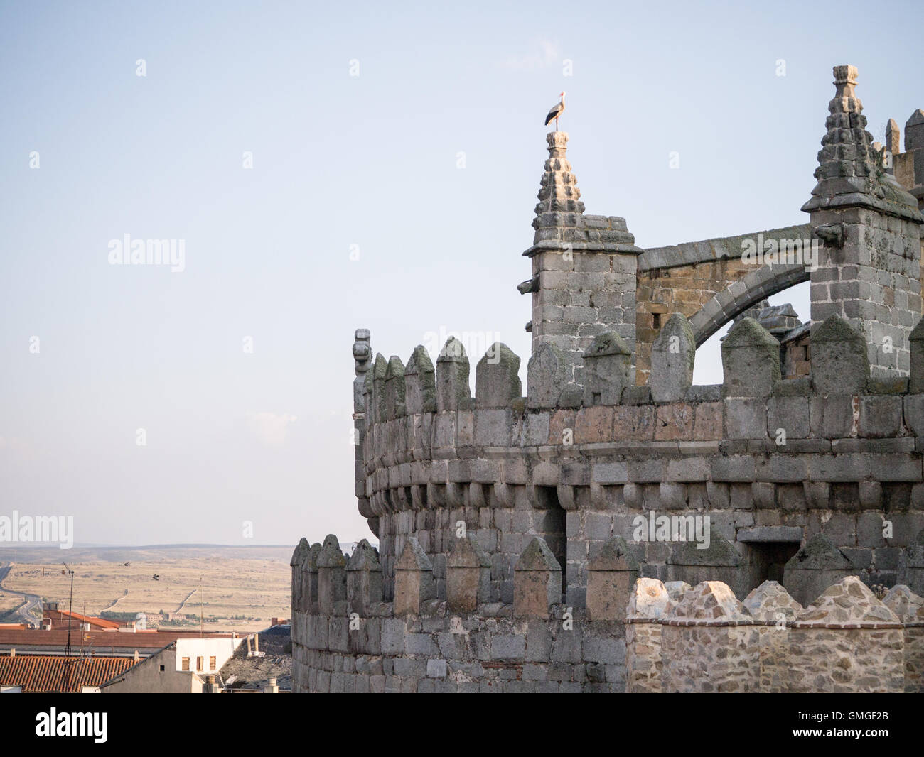 A white stork stands on the Cathedral of Ávila, Spain Stock Photo