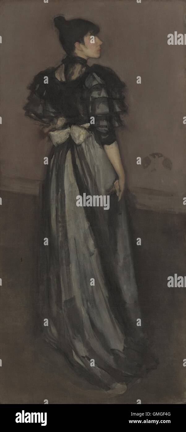 Mother of Pearl and Silver: The Andalusian, by James McNeill Whistler, 1888-1900, American painting, oil on canvas. - Stock Image
