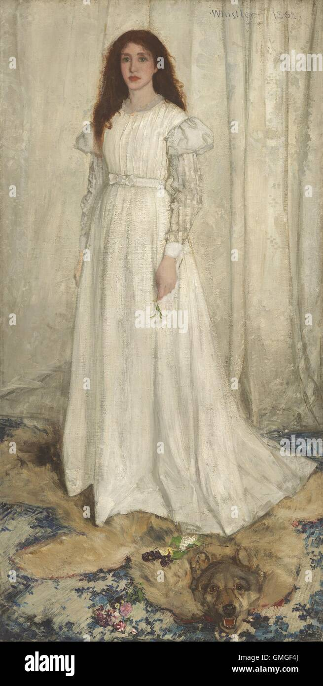 Symphony in White, No. 1: The White Girl, by James McNeill Whistler, 1862, American painting, oil on canvas. This - Stock Image