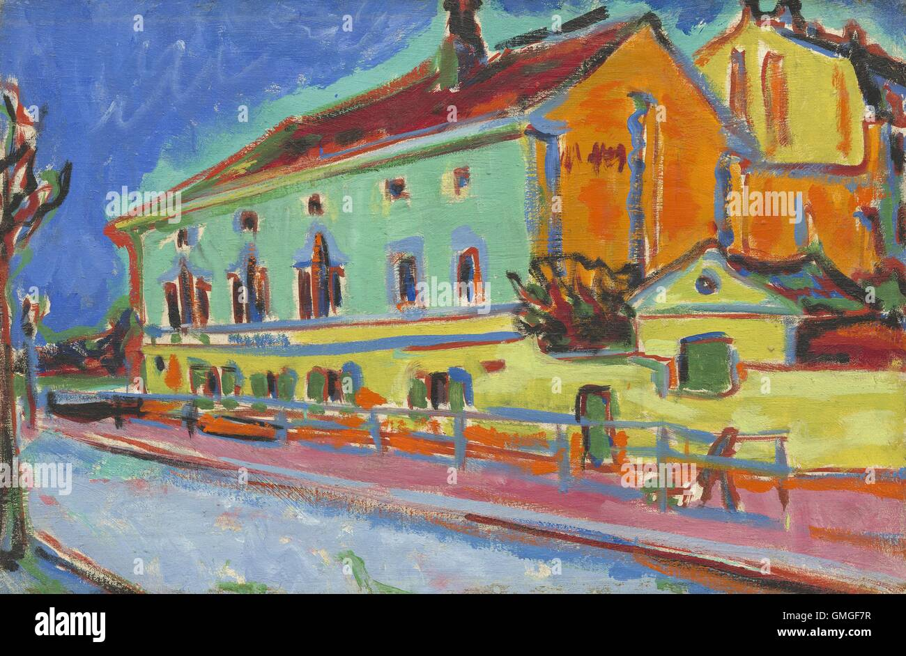 Ernst Ludwig Kirchner, by Houses in Dresden, 1909-10, German painting, oil on canvas. This work was painted while - Stock Image