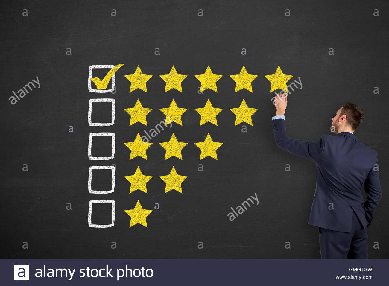 Customer Satisfaction on Blackboard Background customer satisfaction, quality control, customer, perfection, excellence, - Stock Image