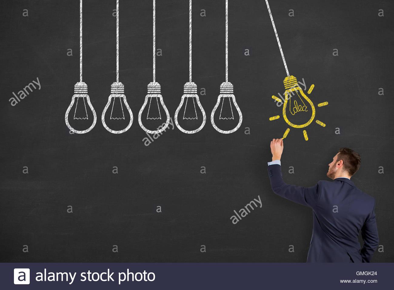 Idea Drawing Work on Blackboard idea, creativity, innovation, big data, thinking, success, leadership, imagination, - Stock Image