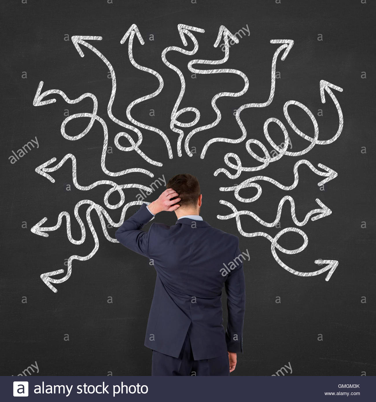 Instability on Blackboard Background indecision, uncertainty, opportunity, adversity, decisions, plan, determination, - Stock Image