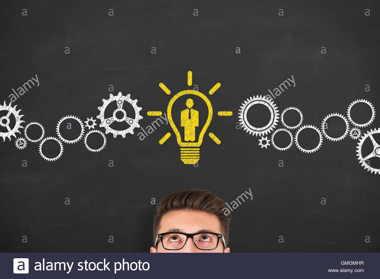 Recruitment Idea Concept on Blackboard human resources, recruitment, business, idea, creativity, innovation, leadership - Stock Image