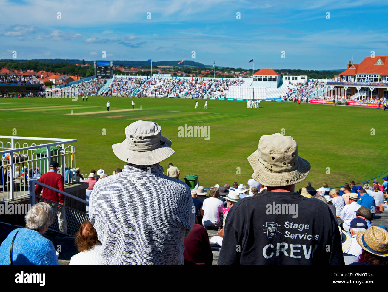 The crowd at Scarborough Cricket Club, North Marine Road, Scarborough, North Yorkshire UK Stock Photo
