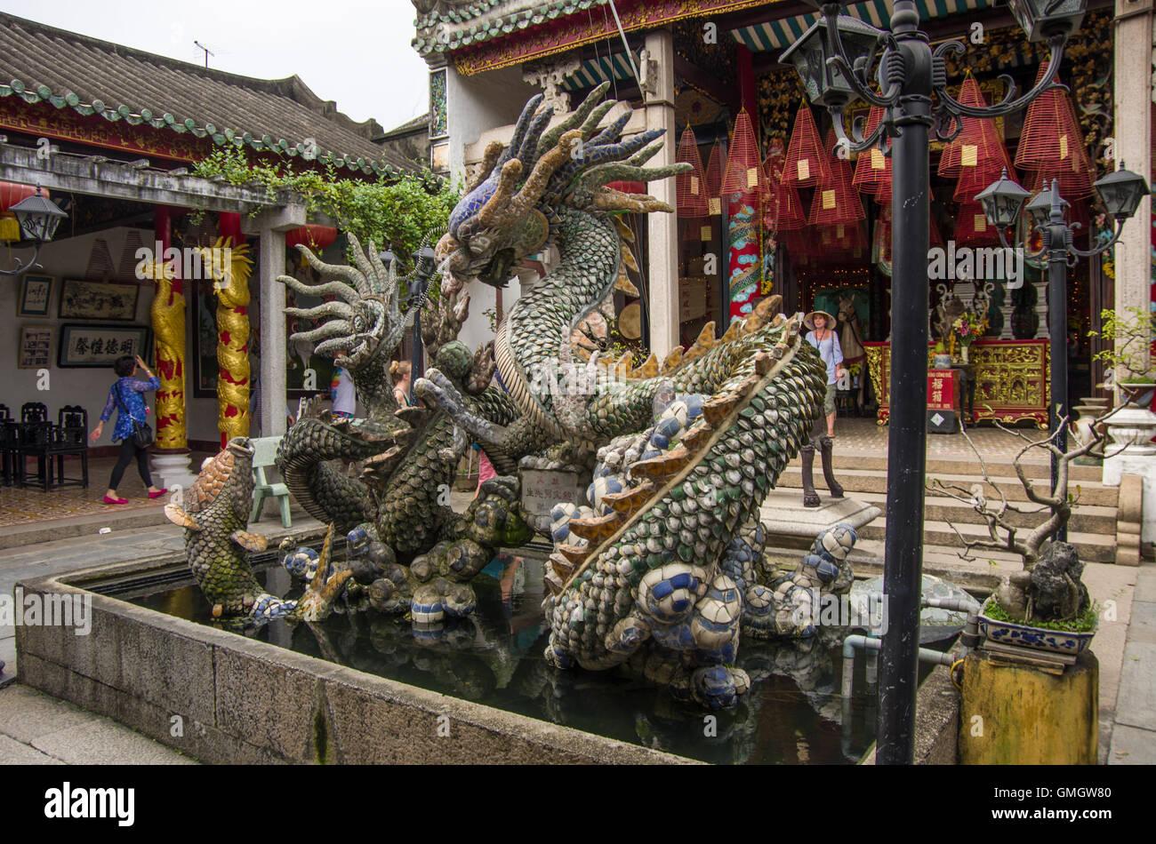Hoi An, Vietnam - 7 january 2015: Dragon Sculptures At Hoi Quan Quang Trieu Temple ( Cantonese Assembly Hall ), - Stock Image