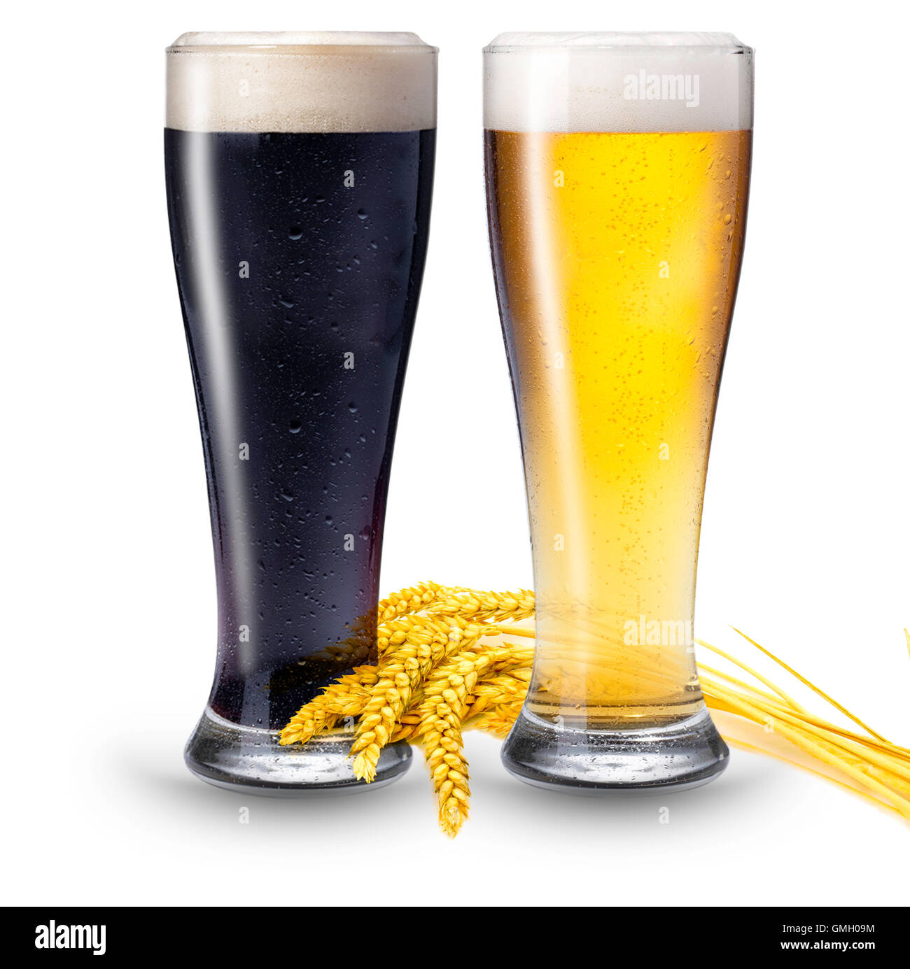 2 glasses of beer Stock Photo