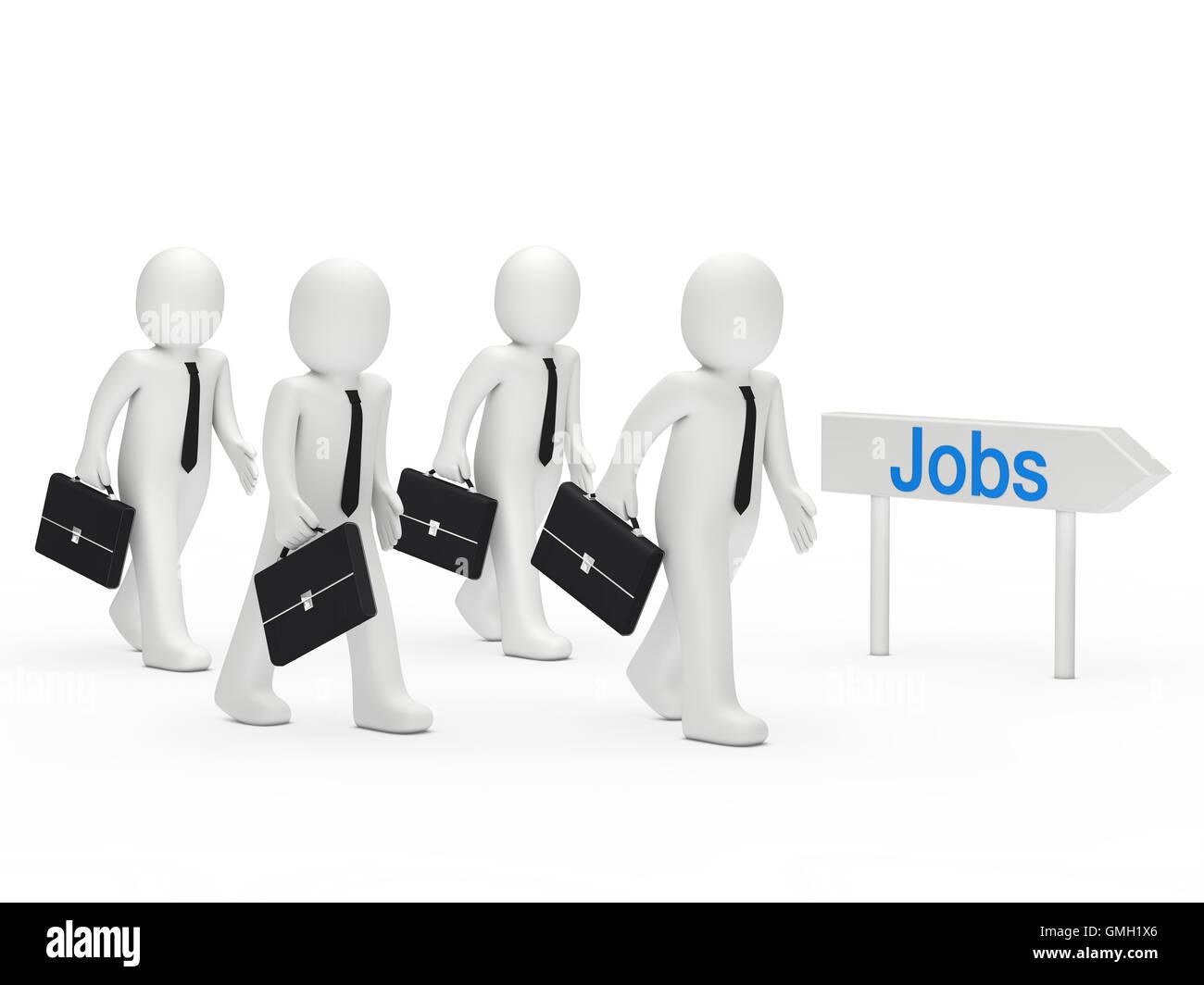 3d businessman run job Stock Photo